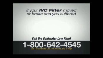 Goldwater Law Firm TV Spot, 'IVC Filter Warning' - Thumbnail 4