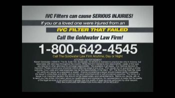Goldwater Law Firm TV Spot, 'IVC Filter Warning' - Thumbnail 8