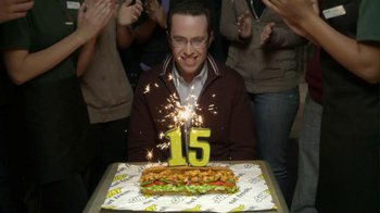 Subway 2013 Super Bowl TV Spot, '15 Years' Feat. Jared, Brian Baumgartner - 136 commercial airings