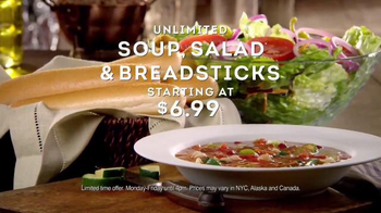 Olive Garden Unlimited Soup, Salad & Breadsticks TV Spot, 'Never Too Much'