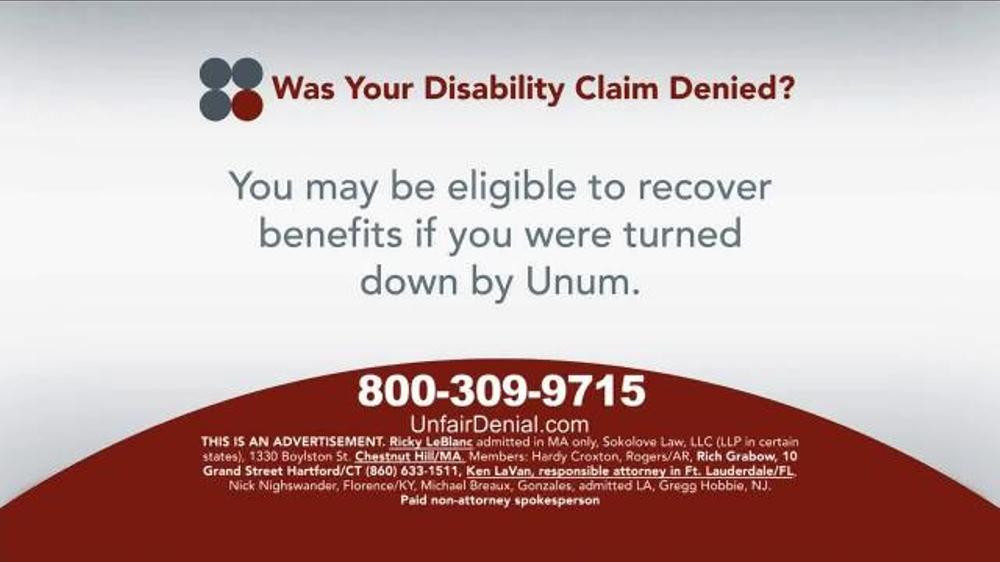 Pulaski Law Firm >> Sokolove Law TV Commercial, 'Disability Claim Denied ...