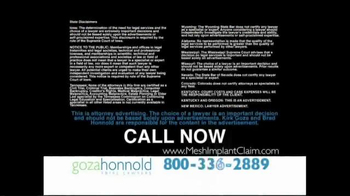 Goza Honnold Trial Lawyers TV Spot, 'Transvaginal Mesh Claim' - Thumbnail 10