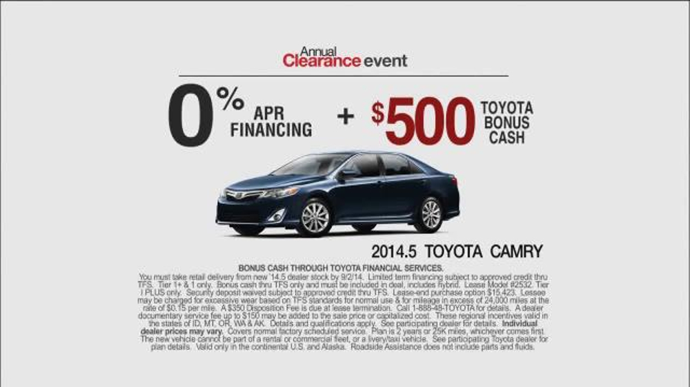 Camry Queen Commercial >> 2014 Toyota Camry LE TV Commercial, 'Annual Clearance Event' - iSpot.tv