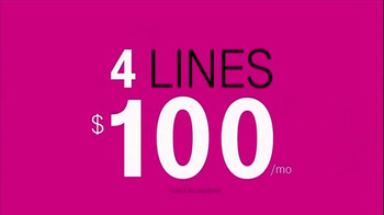 T-Mobile TV Spot, 'Four Lines for $100 a Month' - Thumbnail 6