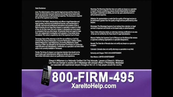 1-800-FIRM-495 TV Spot, 'Xarelto Help' - Thumbnail 4