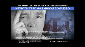 Pulaski & Middleman, L.L.C, Attorneys TV Spot For Mesothelioma