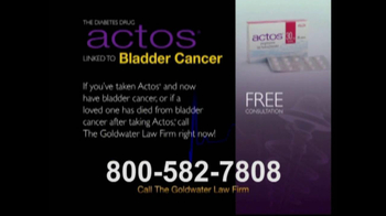 Goldwater Law Firm TV Spot For Actos - Thumbnail 3