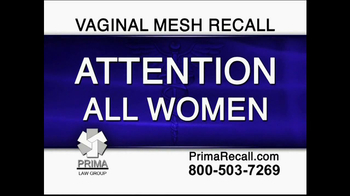 Prima Law Group TV Spot, 'Vaginal Mesh Recall' - Thumbnail 1