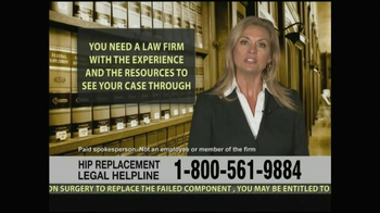 Weitz and Luxenberg TV Spot, 'Hip Replacement Legal Helpline' - Thumbnail 8