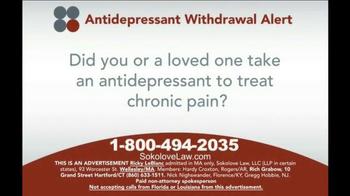 Sokolove Law TV Spot, 'Antidepressant Withdrawal Alert' - Thumbnail 2