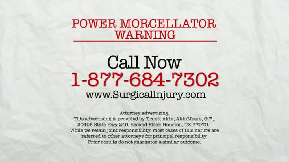 AkinMears TV Commercial, 'Power Morcellator Warning'