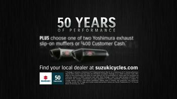 Suzuki 50 Years Strong Anniversary Celebration TV Spot, 'Motorcycles' - Thumbnail 10