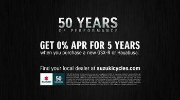 Suzuki 50 Years Strong Anniversary Celebration TV Spot, 'Motorcycles' - Thumbnail 9