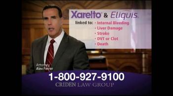 Criden Law Group TV Spot, 'Xarelto and Eliquis' - Thumbnail 3
