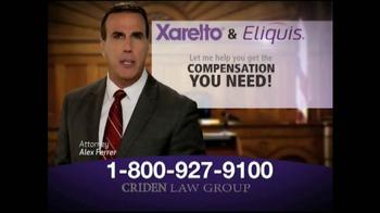 Criden Law Group TV Spot, 'Xarelto and Eliquis' - Thumbnail 4