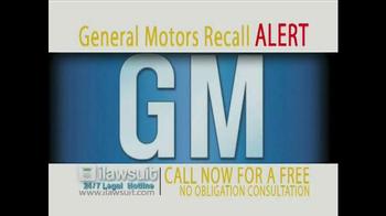 iLawsuit Legal Hotline TV Spot, 'General Motors Recall Alert' - Thumbnail 1