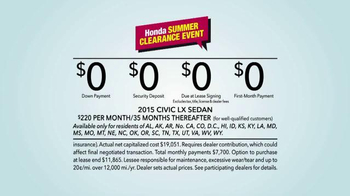 Honda Summer Clearance Event: 2015 Civic LX TV Spot, Long Relationship - Thumbnail 10