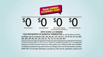 Honda Summer Clearance Event: 2015 Civic LX TV Spot, Long Relationship - Thumbnail 9