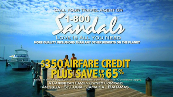Sandals Resorts TV Spot, 'Airfare Credit'