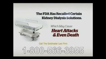 Goldwater Law Firm TV Spot, 'Kidney Dialysis Solutions'