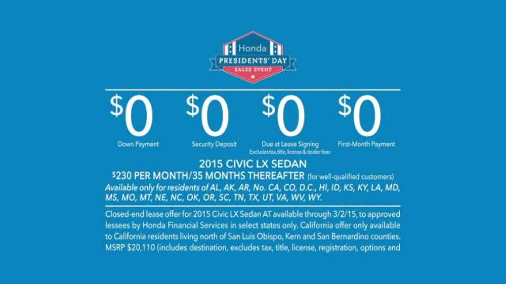 honda presidents 39 day sales event tv commercial 39 mount. Black Bedroom Furniture Sets. Home Design Ideas