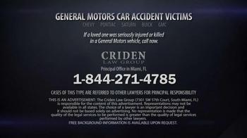 Criden Law Group TV Spot, 'GM Vehicle Accident Victims' - Thumbnail 10