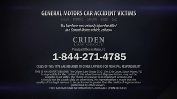Criden Law Group TV Spot, 'GM Vehicle Accident Victims' - Thumbnail 8