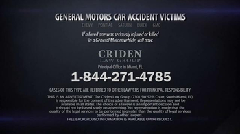 Criden Law Group TV Spot, 'GM Vehicle Accident Victims' - Thumbnail 9