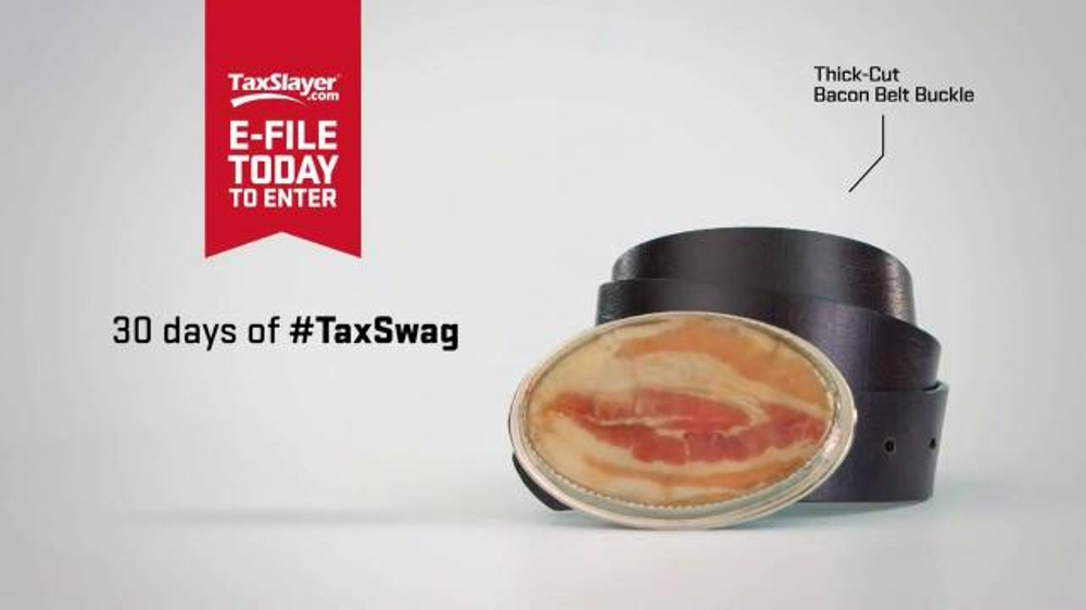 TaxSlayer.com TV Commercial, '30 Days of Tax Swag: Bacon Belt Buckle'