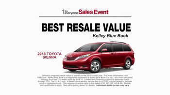 Toyota 1 for Everyone Sales Event TV Spot, 'Favorite Toyota: 2016 Sienna' - Thumbnail 4