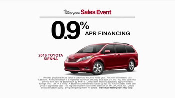 Toyota 1 for Everyone Sales Event TV Spot, 'Favorite Toyota: 2016 Sienna' - Thumbnail 5