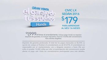 Honda Gran Venta el Garaje de Tus Sueños TV Spot, '2016 Civic LX' [Spanish] - Thumbnail 8
