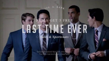 JoS. A. Bank Buy 1 Get 3 Free Sale TV Spot, 'Last Time Ever' - Thumbnail 3