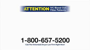 Kirkendall Dwyer LLP TV Spot, 'Blood Clot Filters' - Thumbnail 3
