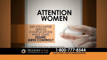Olinde Firm TV Spot, 'Essure Birth Control Complications Lead to Lawsuits' - Thumbnail 1