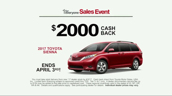 Toyota 1 For Everyone Sales Event TV Spot, '2017 Toyota Sienna' [T2] - Thumbnail 6
