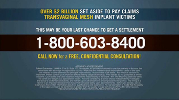 Goldwater Law Firm TV Spot, 'Transvaginal Mesh Implant Victims' - Thumbnail 5