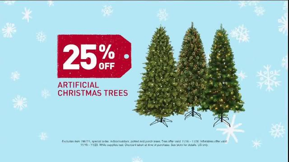 lowes black friday deals tv commercial artificial christmas trees ispottv - Christmas Tree Black Friday
