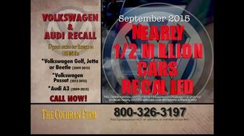 The Cochran Law Firm TV Spot, 'Volkswagen & Audi Recall' - Thumbnail 2