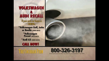 The Cochran Law Firm TV Spot, 'Volkswagen & Audi Recall' - Thumbnail 4