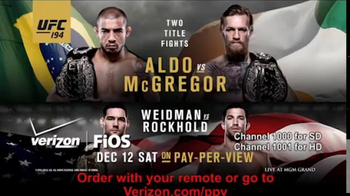 Fios by Verizon Pay-Per-View TV Spot, 'UFC 194: Aldo vs. McGregor'