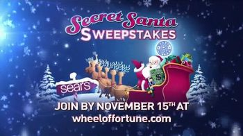 Sears Secret Santa Sweepstakes TV Spot, 'Wheel of Fortune: Could Be Yours'