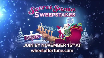 Sears Secret Santa Sweepstakes TV Spot, 'Wheel of Fortune: Could Be Yours' - 11 commercial airings