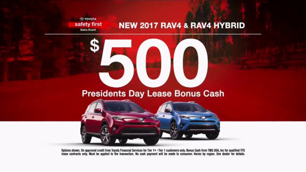 Presidents Day Car Sales 2017 >> Toyota Safety First Sales Event Tv Commercial 2017 Rav4 Bonus Cash T2 Video