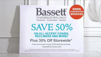 Bassett's Thanksgiving Sale TV Spot, 'Chairs, Recliners, and Bedroom' - Thumbnail 5
