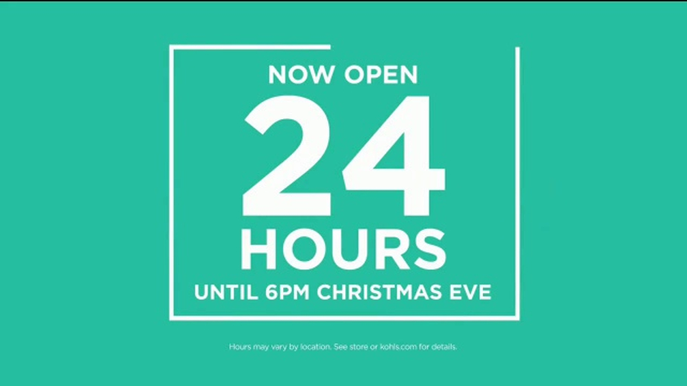 Is Kohls Open On Christmas Eve.Kohl S Tv Commercial Holidays 24 Hours Video