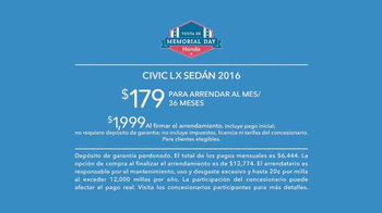 Honda Venta de Memorial Day TV Spot, '2016 Civic LX' [Spanish] - Thumbnail 7