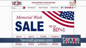 Tennis Express Memorial Day Sale TV Spot, 'Shoes, Apparel and Rackets' - Thumbnail 2