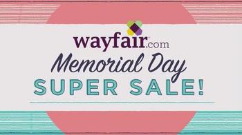 Wayfair Memorial Day Super Sale TV Spot, 'Outdoor, Living & Bedroom' - 99 commercial airings