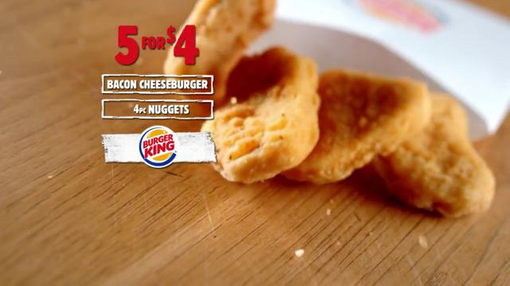 burger king five forces Burger king already has one entry in the ongoing fast food meal-deal war that focuses on one person — a 5 for $4 menu that includes a bacon cheeseburger, small fries.
